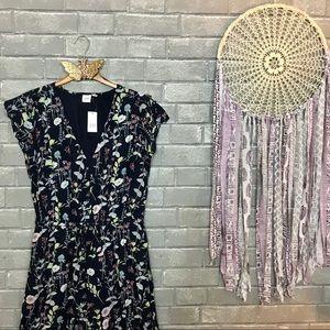 gap // navy blue wildflower printed midi dress s